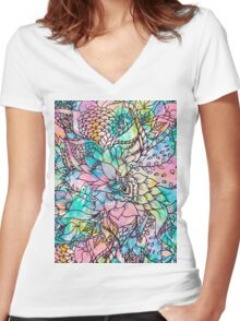 Bright hand drawn floral watercolor pattern Women's Fitted V-Neck T-Shirt