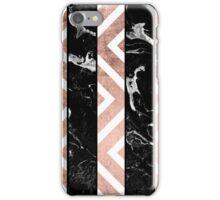 Modern black marble stripes rose gold chevron iPhone Case/Skin