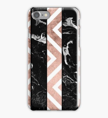 Modern black marble stripes rose gold chevron iPhone Case/Skin