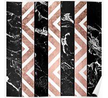 Modern black marble stripes rose gold chevron Poster