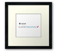 """Harrie's """"luv u so mani lewie"""" Tweet Framed Print"""