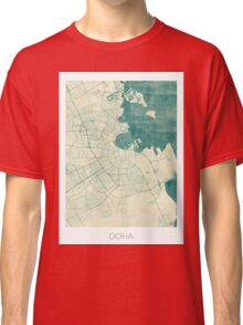Doha Map Blue Vintage Classic T-Shirt