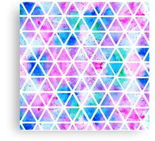 Modern pink blue watercolor geometric triangles Canvas Print