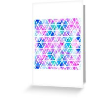 Modern pink blue watercolor geometric triangles Greeting Card