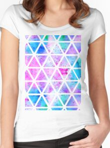 Modern pink blue watercolor geometric triangles Women's Fitted Scoop T-Shirt
