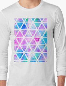 Modern pink blue watercolor geometric triangles Long Sleeve T-Shirt