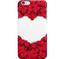 Background with red roses and empty heart iPhone Case/Skin