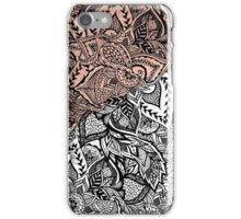Modern rose gold color block floral hand drawn iPhone Case/Skin