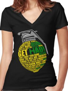 Portal 2 GET HAD / COMBUSTIBLE MELON  Women's Fitted V-Neck T-Shirt
