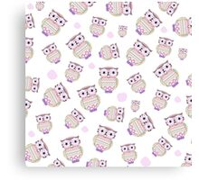 Cute pastel tribal aztec owls pink watercolor dots Canvas Print