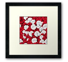 Floral pattern with white and red roses Framed Print