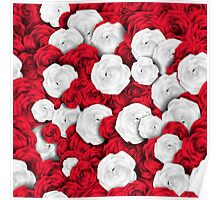 Floral pattern with white and red roses Poster