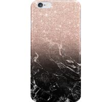 Modern rose gold ombre black marble color block  iPhone Case/Skin