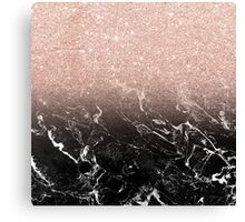 Modern rose gold ombre black marble color block  Canvas Print