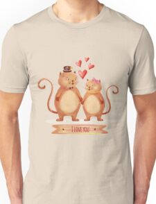 Hand painted cats couple Unisex T-Shirt