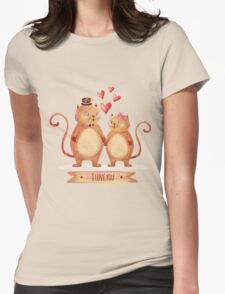 Hand painted cats couple Womens Fitted T-Shirt