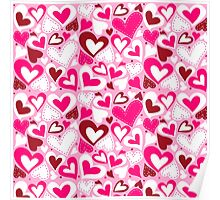 Hearts valentine day pattern Poster