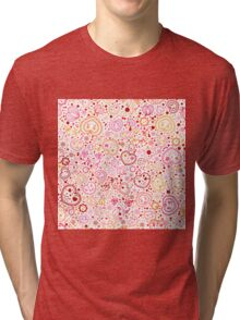 Ornamental pattern with hearts and flowers Tri-blend T-Shirt