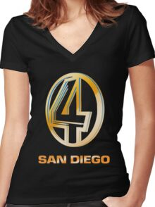 Channel 4 San Diego (Gold) Women's Fitted V-Neck T-Shirt