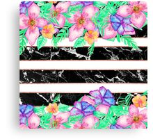 Modern tropical flowers watercolor marble stripes Canvas Print