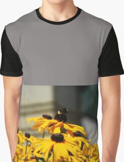 Bee on Rudbeckia Flowers Graphic T-Shirt