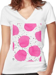 Modern pink watercolor polka dots black splatters Women's Fitted V-Neck T-Shirt