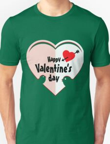 Valentine cut out heart with birds T-Shirt