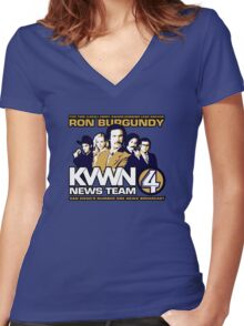 News Team 4 Women's Fitted V-Neck T-Shirt