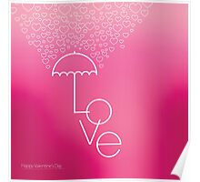 Valentines blurred background with umbrella Poster