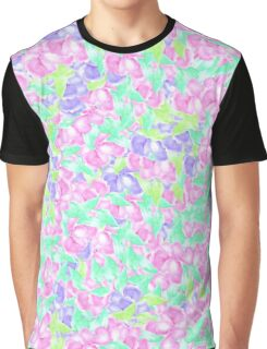 Pastel pink turquoise floral watercolor pattern Graphic T-Shirt