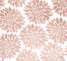 Modern rose gold geometric floral abstract by GirlyTrend