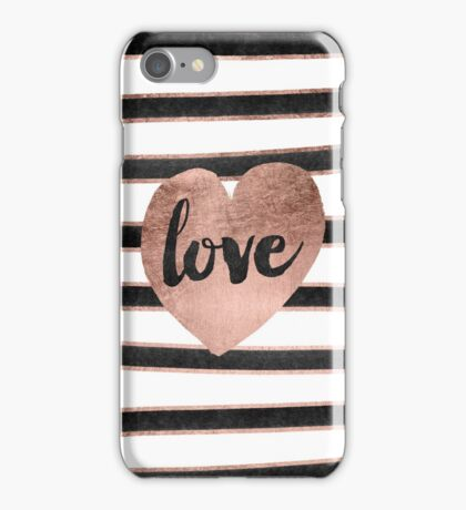 Modern love typography rose gold hearts stripes  iPhone Case/Skin