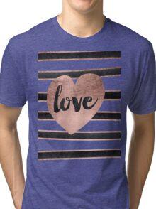 Modern love typography rose gold hearts stripes  Tri-blend T-Shirt