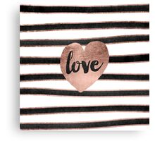Modern love typography rose gold hearts stripes  Canvas Print