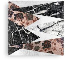 Modern Chic Black White Marble and Rose Gold Geo Canvas Print
