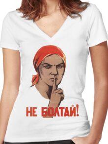 Soviet Treason Poster Women's Fitted V-Neck T-Shirt