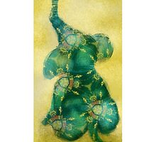 Little Elephant  - turquoise and gold by Indijam