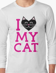 I love my cat! (pink letters) Long Sleeve T-Shirt