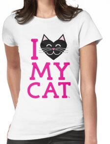 I love my cat! (pink letters) Womens Fitted T-Shirt