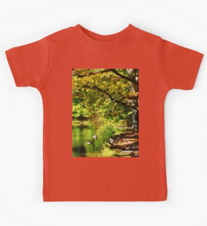 Geese Swimming on Serene Lake Kids Tee