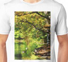 Geese Swimming on Serene Lake Unisex T-Shirt
