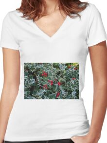 Frost on Holly Hedge Women's Fitted V-Neck T-Shirt