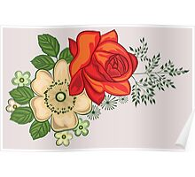 Red Rose and Daisies Poster