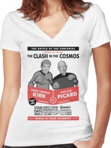 Captain vs. Captain Women's Fitted V-Neck T-Shirt