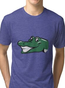 head crocodile funny naughty Tri-blend T-Shirt
