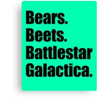 Bears Beets Battlestar Galactica (Black) Canvas Print
