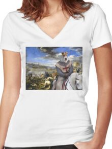 Wire Fox Terrier Art - Scene with infantry Cavalry Women's Fitted V-Neck T-Shirt