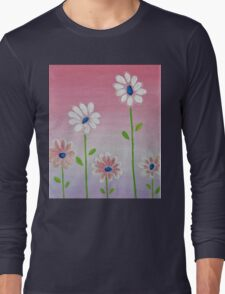 Daisies reaching for the sun original acrylic painting Long Sleeve T-Shirt