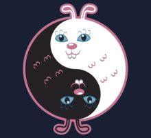 Cute rabbits yin yang  One Piece - Short Sleeve