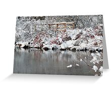The pond, the snow, and the footbridge Greeting Card